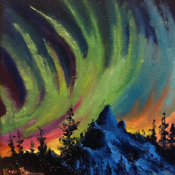 Northern Lights,  tiny canvas art, Original nocturne, Winter painting
