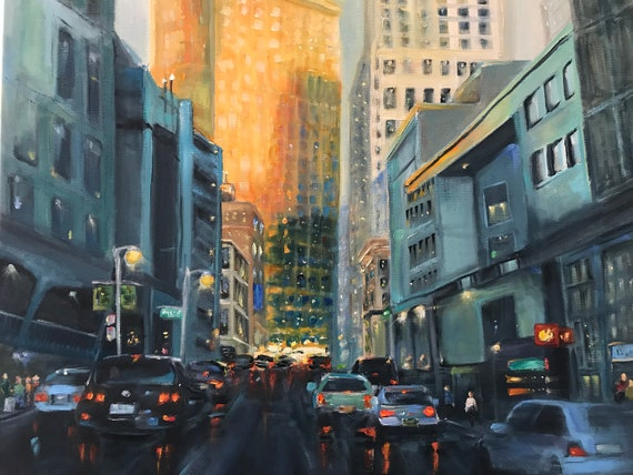 Burnt Orange, Cityscape, city painting, Landscape Painting, Vacation Painting,  San Francisco painting