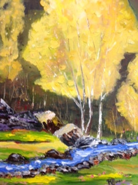 Fall Autumn Painting, landscape painting, canvas oil painting, Golden Sycamore, trees