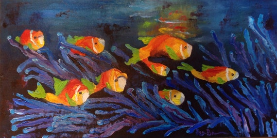 Fish Painting, Burnt Orange, Seascape, Clown Fish, Oil Painting, water art