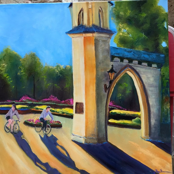 Bike Painting, Indiana university, IU, Large painting, Canvas Oil Painting, A Couple on their Bikes