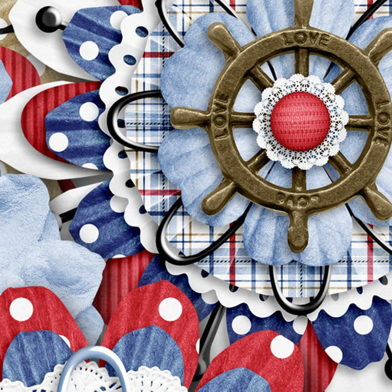 Digital Scrapbooking Kit Elements Embellishments Shoreline Layered Flowers