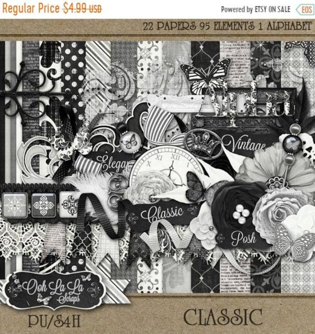 On Sale 50 Classic Digital Scrapbook Kit Digital Etsy