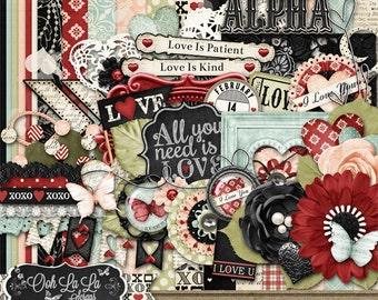 Valentine, Love Is, Digital Scrapbooking Kit, Holiday