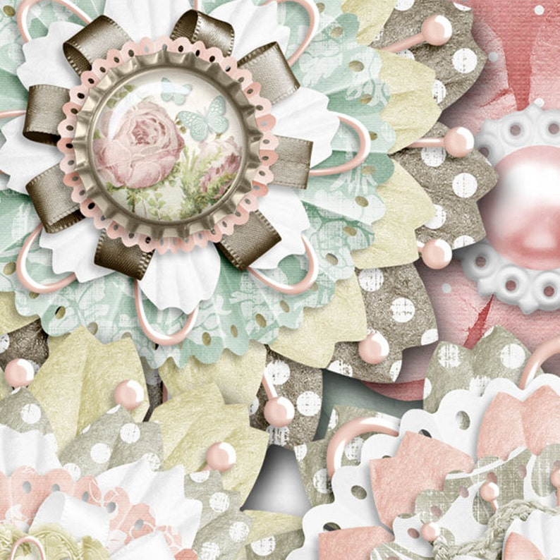Shabby Chic,Layered Flower Elements,Clip Art,Digital Scrapbook Kit Scrapbooking