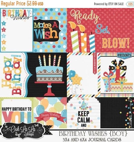 on sale 50 birthday wishes boy pocket scrap cards digital etsy