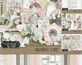 Shabby Chic,Digital Scrapbook Kit, Scrapbooking, Bundle, Collection
