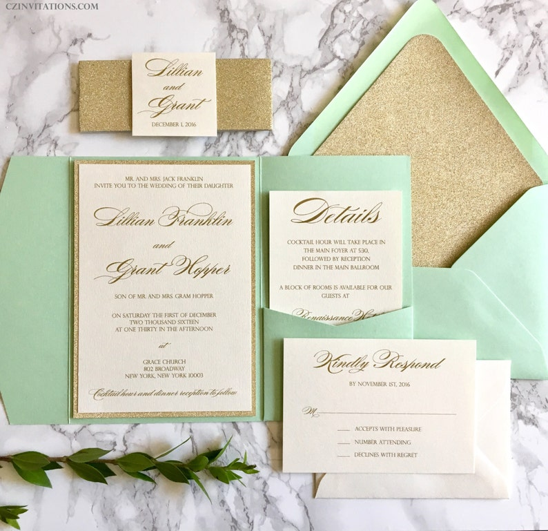 Mint And Gold Glitter Pocket Wedding Invitations With Glitter Etsy