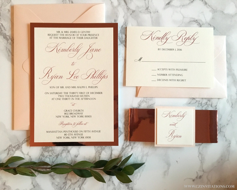 Wedding Invitations Rose: Rose Gold Mirrored Wedding Invitation Blush And Rose Gold