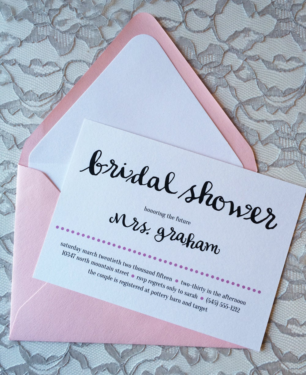 Pink Bridal Shower Invitation Simple Shower Invitation