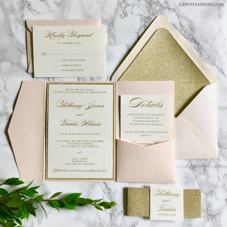 Blush and Gold Glitter Pocket Wedding Invitations with Glitter image 0