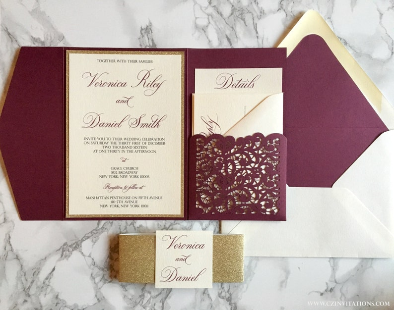 Burgundy Laser Cut Pocket Wedding Invitation Burgundy And Etsy