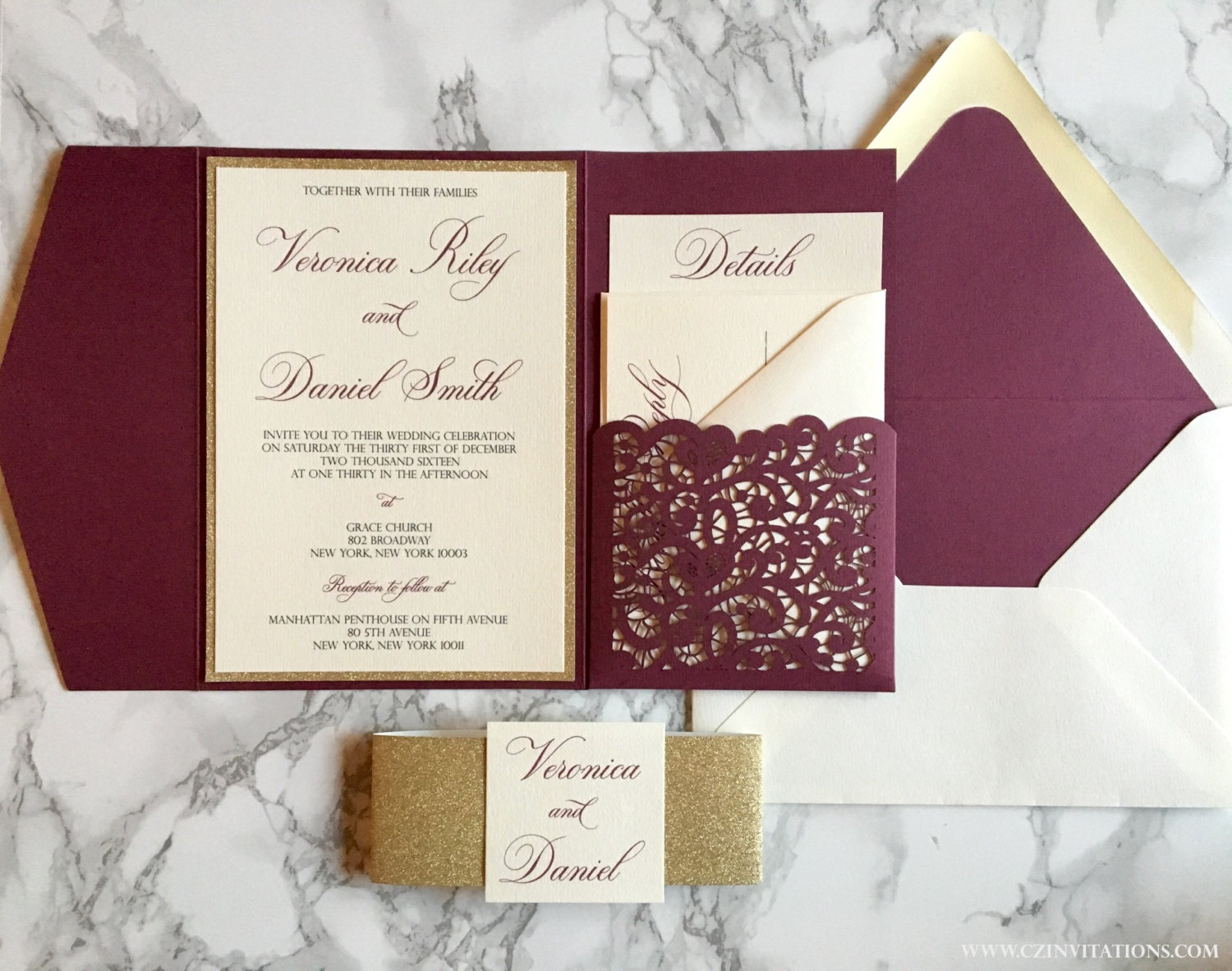 Laser Cut Pocket Wedding Invitation Burgundy and Gold Glitter | Etsy