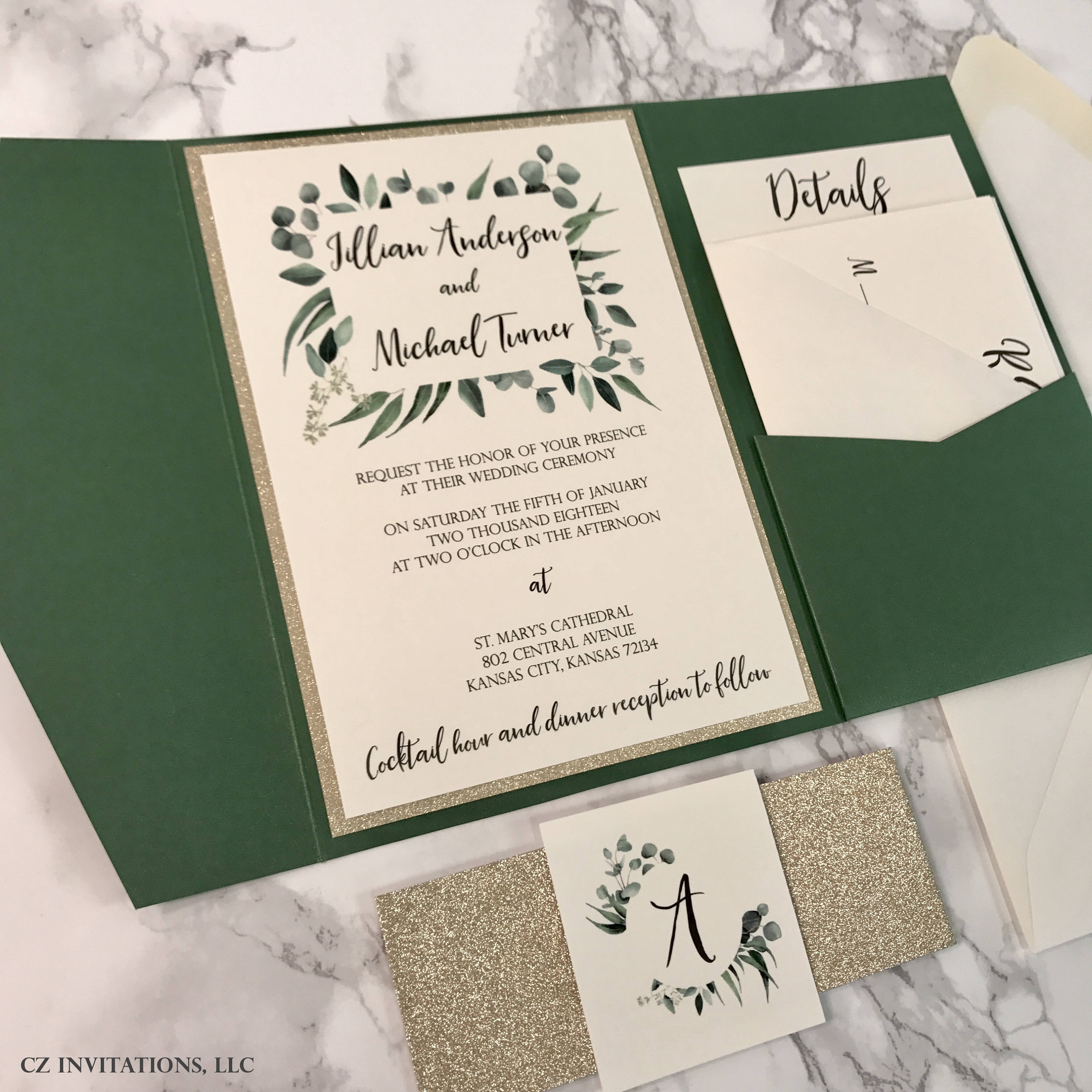 Eucalyptus And Forest Green Pocket Wedding Invitations