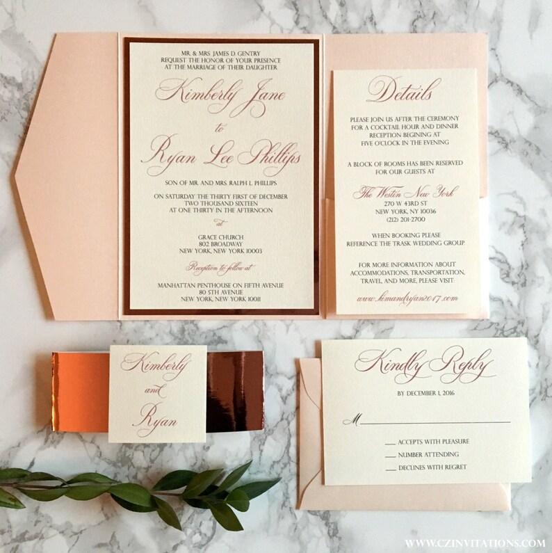 Rose Gold And Blush Pocket Wedding Invitation Mirrored Rose Etsy