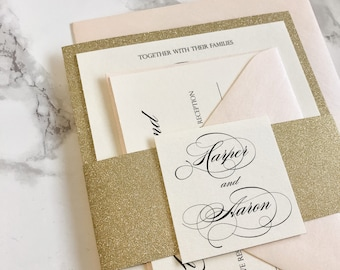 Gold Glitter Wedding Invitation with Glitter Belly Band and Blush envelopes, Blush and Gold Glitter Invitation, Glitter Wedding Invites