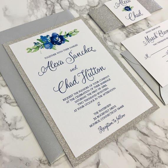 Silver Glitter Wedding Invitation with Glitter Belly Band  03429407cf9f