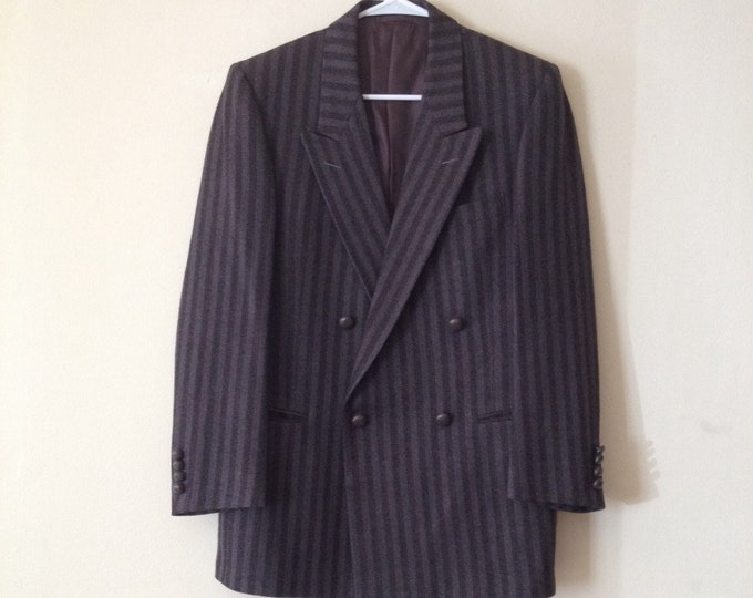 Featured listing image: 60s Gray Pinstripe Wool Jacket with Wide Lapel by Chavari for Backers New Haven CT Size 38