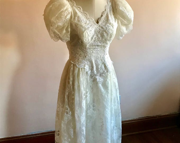 Featured listing image: 80s Wedding Dress, Short Sleeve, Ivory Dress, Lace Trim, Beaded, 1980s, Size 2, Size 3, Extra Small, Vintage Wedding Dress, Puff Sleeves