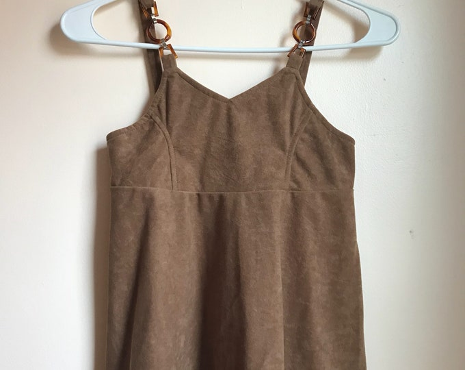 Featured listing image: 70s, 80s, Faux Suede, Brown, Tan, Ultra Suede, Velour, Tank Top, Acrylic, Faux Tortoise Straps, Festival, Hippie, Boho, 60s Revival, Size 6
