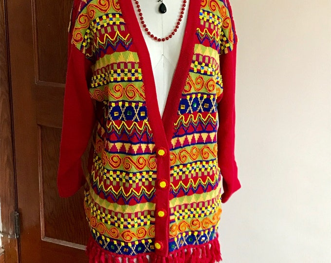 Featured listing image: 90s HipHop Sweater, Cardigan, Beaded, Rhinestones, Fringe, Cedars, Size M, Red, Yellow, Ethnic, Tribal, World