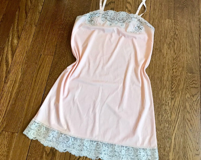 Featured listing image: 60s Slip, Peach, Lace Trim, Van Raalte, 1960s, Adjustable Straps, Size 32, Size Small, Vintage Lingerie, Undergarments, Womens Vintage
