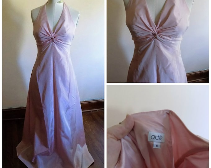 Featured listing image: 80s Dusty Rose Pink Halter Gown by Cache Size 8
