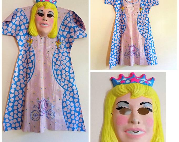 Featured listing image: 80s Cindarella Costume, Ben Cooper, Disney, Cinderella, Size Small, 4 to 6, 1981, 1980s, Girls Costume, Mask, Dress