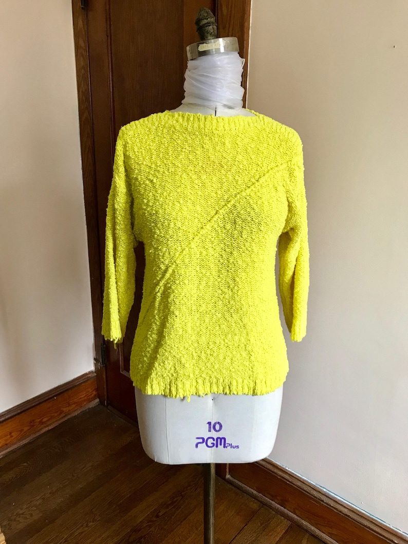 072dfec3cb 80s Neon Sweater Bright Yellow Chartreuse Pullover Chaus | Etsy