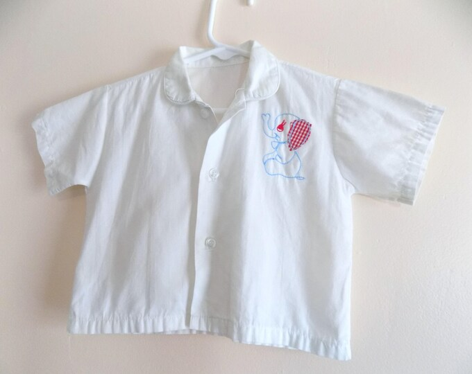 Featured listing image: 50s Boys Shirt, Elephant, Button Down, 1950s, Applique, Vintage Childrens Clothing, Baby Boy, Size 12 Months, Size 18 Months, Boys Top