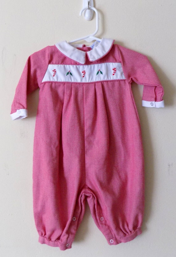 80s Christmas Romper Holiday Onesie Petit Ami Candy Cane Etsy