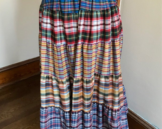 Featured listing image: 70s Plaid Skirt, Boho, Hippie, Gypsy, Multicolor Plaid, 1970s, Size Medium, Country Western, Maxi Skirt, Long Skirt, Womens Vintage Clothing