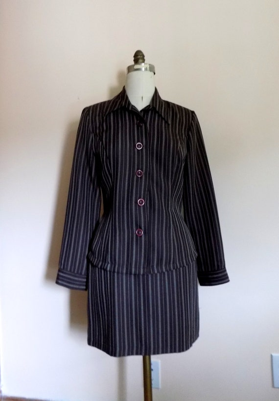 90s Suit, 2 Piece Dress, Blouse, Mini Skirt, 1990… - image 1