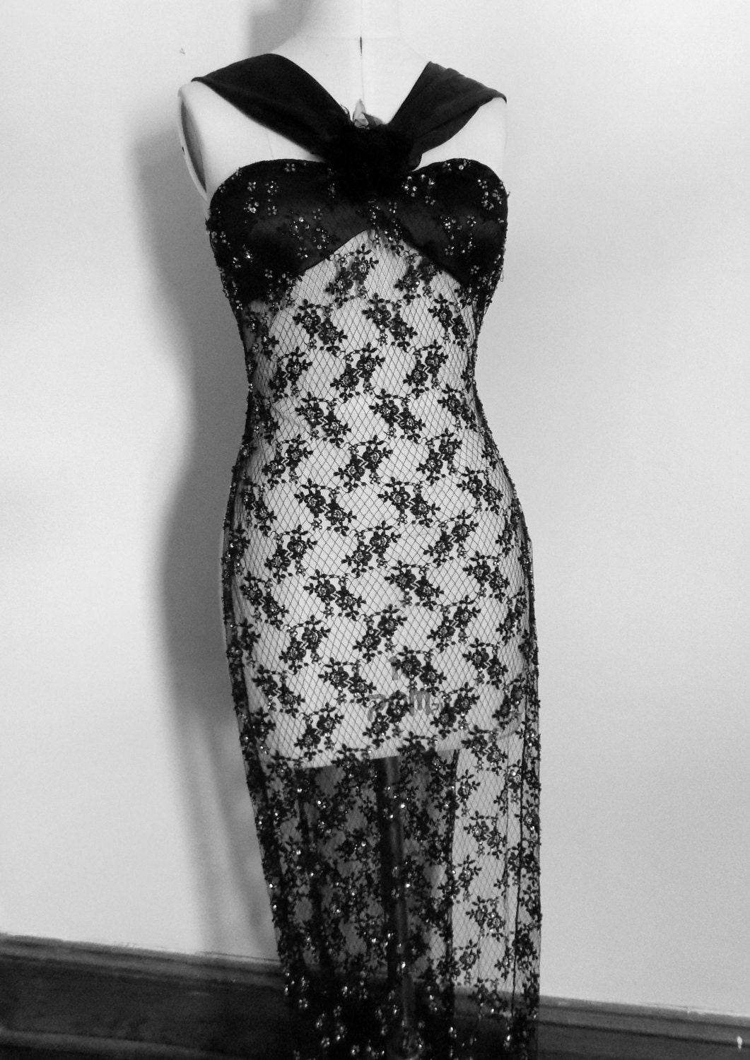 Beaded Lace Dress, Slip Dress, Sheer Lace Gown, 1930s, Black ...