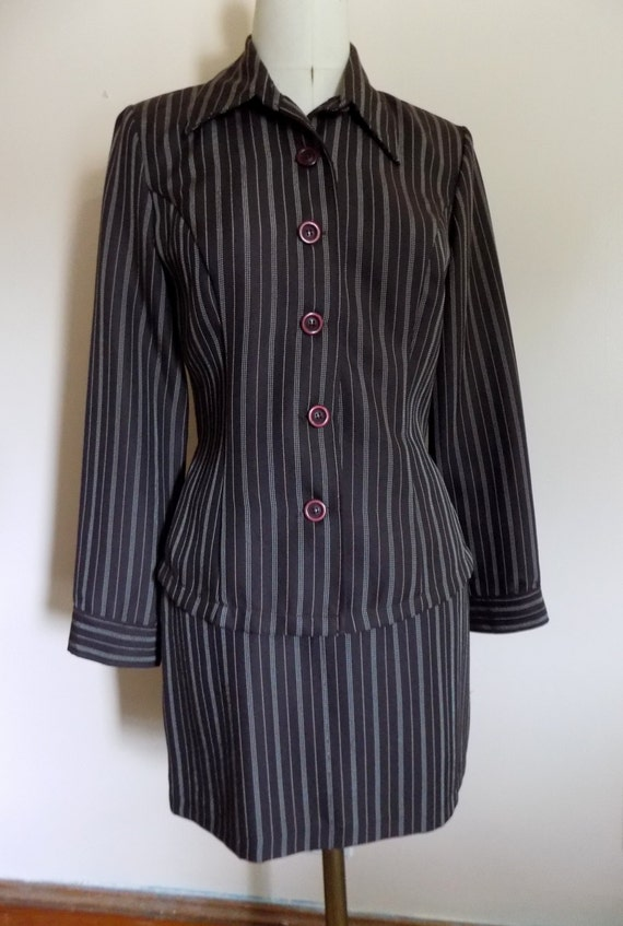 90s Suit, 2 Piece Dress, Blouse, Mini Skirt, 1990… - image 5