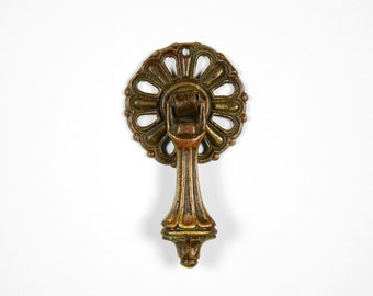Antique Furniture Hardware, Keeler Brass Drop Pendant Drawer Pulls, Pierced Brass B147