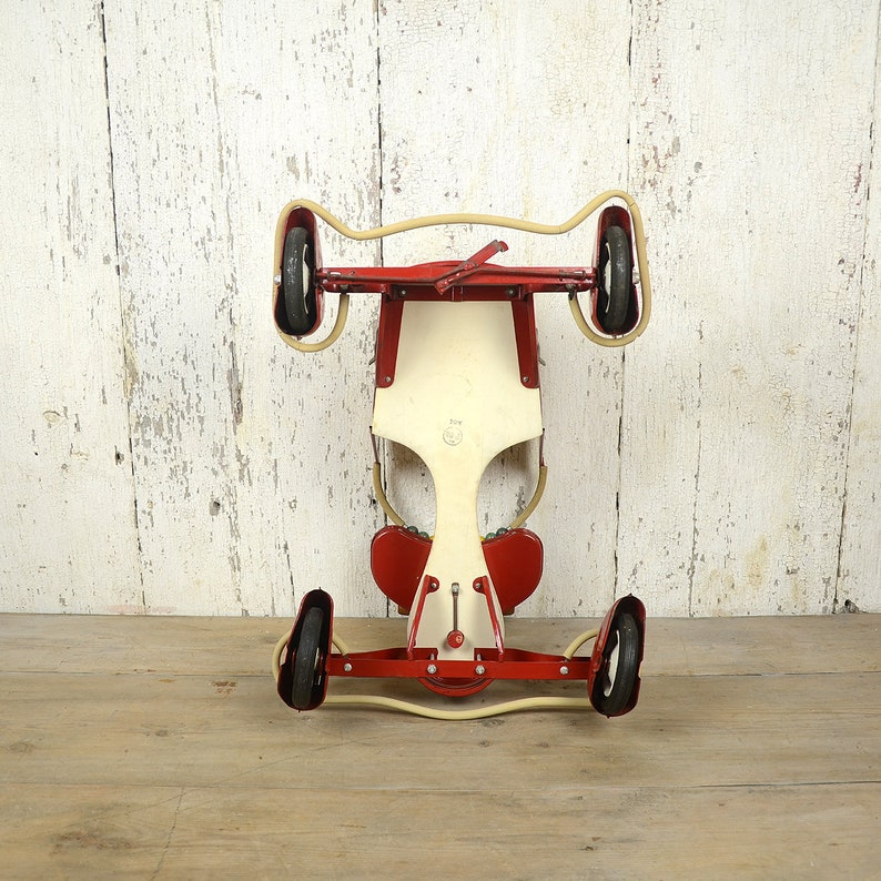 1950\u2019s Red and White Baby Carriage Vintage Taylor Tot Stroller Retro Ride on Toy Air Stream Art Deco Fenders