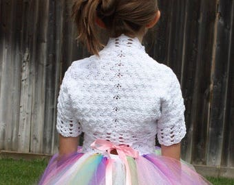 White Bolero,Cotton Crochet Bolero,Crochet Bolero,Girls Bolero,Girls Crochet Bolero,Crochet Shrug,Little Girls Shrug,Crochet Shrug
