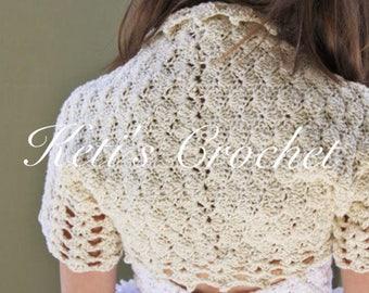 Crochet Bolero,Beige Bolero,Cotton Bolero,Girls Bolero,Girls Crochet Bolero,Crochet Shrug,Girls Sweater,Little Girls Shrug,Cotton Shrug
