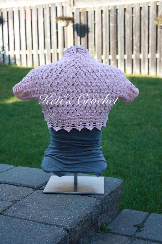 Gehäkelter Bolero erröten rosa rosa Bolero Cotton Crochet