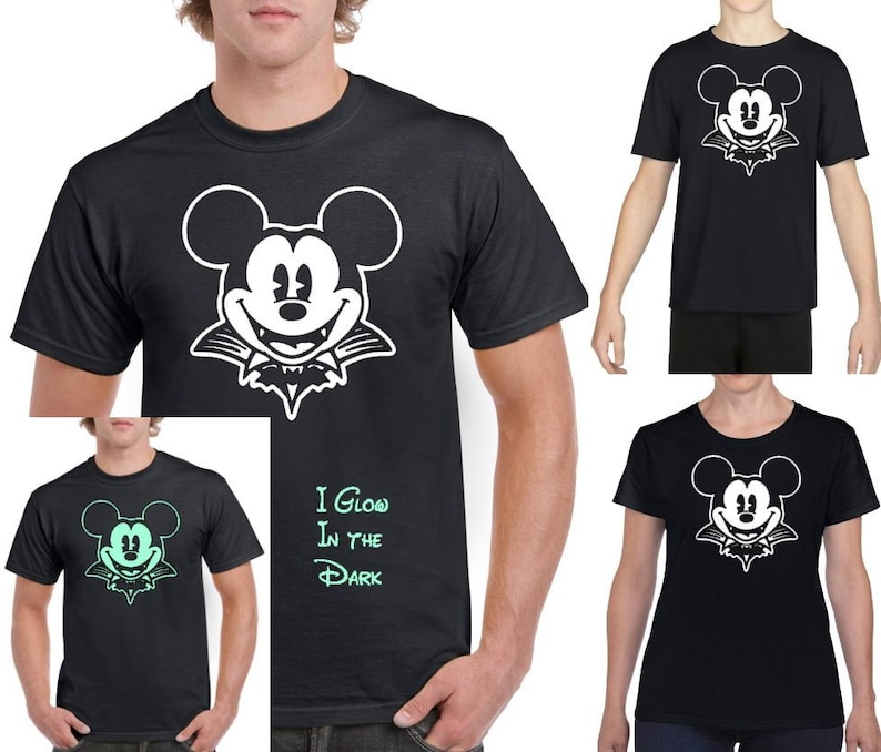 Walt Disney World Halloween T Shirts.Glow In The Dark Walt Disney Not So Scary Halloween Party Mickey Mouse Dracula Vampire Graphic Tee Shirt Costume Disney World Disneyland