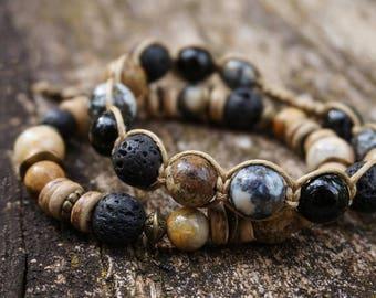 "Set of 2 Boho ""River Pebbles"" Bracelets, Bohemian Rustic Gypsy Tribal Shamballa 8,10 mm Stretch Coconut Wood Lava Womens Mens Jewelry Gift"