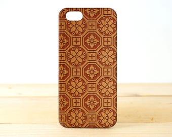 Floral Emblem- Personalization - iPhone SE case - iPhone 7 Case - Wood iPhone 6S Case - wooden iphone 6 case - Cherry/Walnut/Rosewood