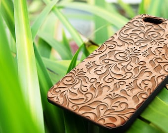Damask Floral- personalized Custom Name Wood iPhone SE case Wood iPhone 7 Case iPhone 6S Case wood iphone 6 case