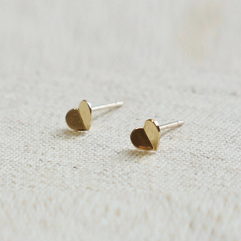 10K Gold tiny folded Heart earrings 10k real Gold solid Gold TG039