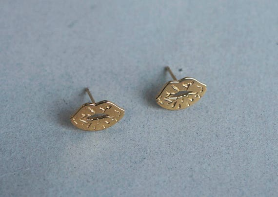 Full Lips Yellow gold Vampire Lips Kiss TG4102 Real Gold 14K Solid Gold stud Earrings