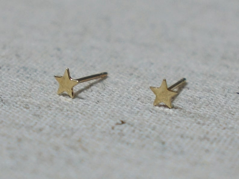 b59521d5f 10K Gold Tiny Star Stud Earrings Solid Gold 10k Real Gold | Etsy