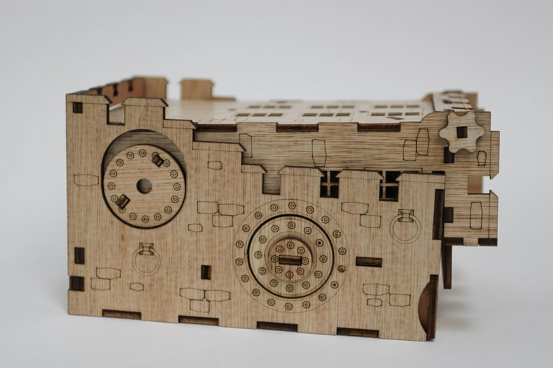 3.5mm hardwood laser cut with amazing details! Unique Steampunk Dice Tower