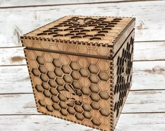 Bee Box - a unique box featuring an intricate honeycomb and bees - precision lasercut and varnished to a beautiful golden finish.