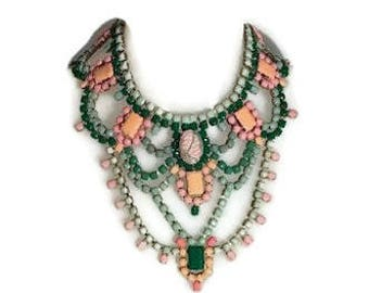 SPRING CACTUS hand painted rhinestone super statement necklace